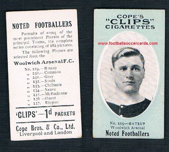 1910 Cope Brothers Noted Footballers 282 series Bateup Woolwich Arsenal 229